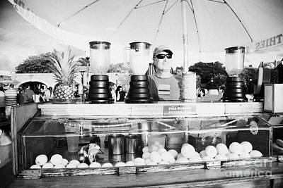 Vendor Selling Fresh Fruit Drinks Slushies At Mallory Square Key West Florida Usa Print by Joe Fox