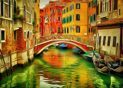 Venice Bridges 1 Print by Yury Malkov