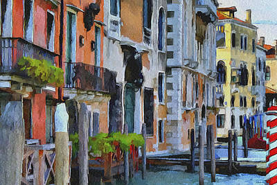 Venice Canals Watercolor 6 Print by Yury Malkov