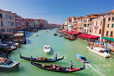 Old Photograph - Venice Italy Gondola With Tourists Floats On Grand Canal by Michal Bednarek