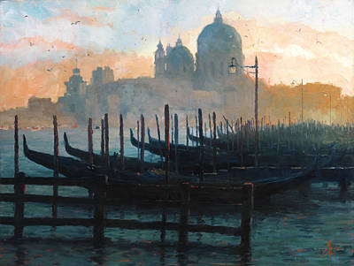 Tuscan Sunset Painting - Venice Italy Sunset Gondolas by Christopher Clark