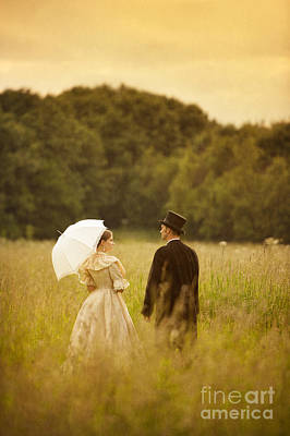 Husband Waiting Photograph - Victorian Couple In A Summer Meadow by Lee Avison