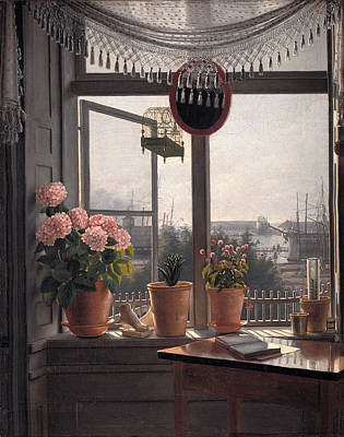 Surrealism Painting - View From The Artist's Window by Celestial Images