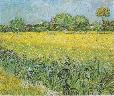 Celestial Painting - View Of Arles With Irises by Celestial Images