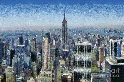 Manhattan Painting - View Of Manhattan From Observation Deck At Rockfeller Building by George Atsametakis