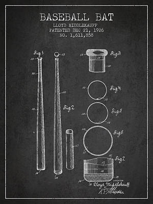 Gloves Digital Art - Vintage Baseball Bat Patent From 1926 by Aged Pixel
