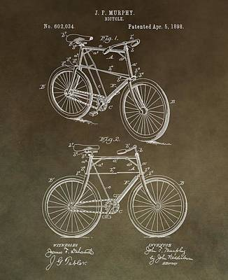 Bicycle Mixed Media - Vintage Bicycle Patent Brown by Dan Sproul
