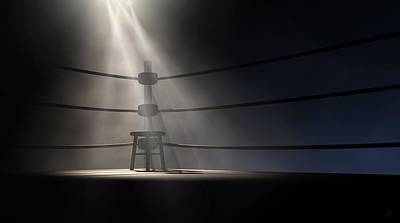 Empty Chairs Digital Art - Vintage Boxing Corner And Stool by Allan Swart
