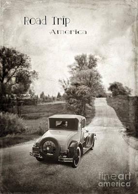 Vintage Car On A Rural Road Print by Jill Battaglia