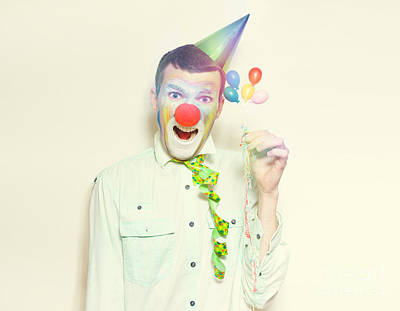 Vintage Clown With Birthday Balloons And Streamers Print by Jorgo Photography - Wall Art Gallery