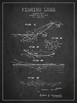 Vintage Fishing Lure Patent Drawing From 1969 Print by Aged Pixel