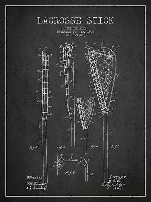 Goalie Drawing - Vintage Lacrosse Stick Patent From 1908 by Aged Pixel