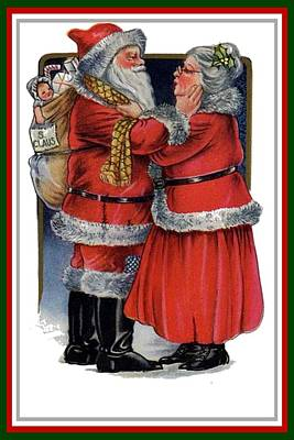 Women Together Mixed Media - Vintage Mr And Mrs Claus by Tracey Harrington-Simpson