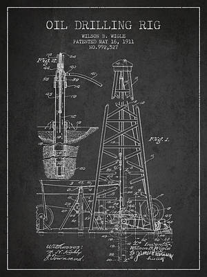 Industry Drawing - Vintage Oil Drilling Rig Patent From 1911 by Aged Pixel