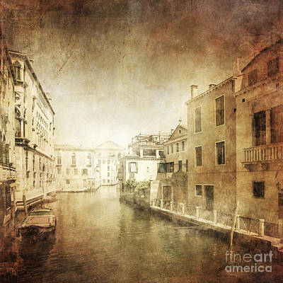 Vintage Photo Of Venetian Canal Print by Evgeny Kuklev