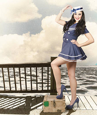 50s Photograph - Vintage Sailor Girl. World Tour Travel Cruise by Jorgo Photography - Wall Art Gallery