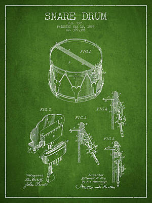 Vintage Snare Drum Patent Drawing From 1889 - Green Print by Aged Pixel