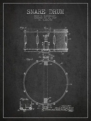 Drum Digital Art - Snare Drum Patent Drawing From 1939 - Dark by Aged Pixel