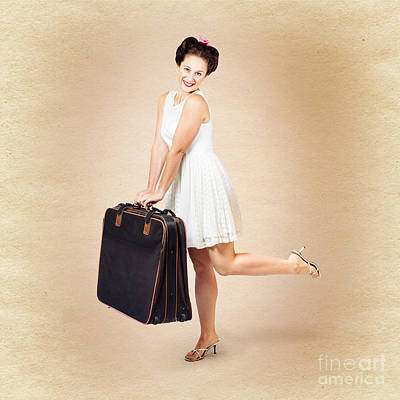 Vintage Travel Female Holding Old Fashion Suitcase Print by Jorgo Photography - Wall Art Gallery