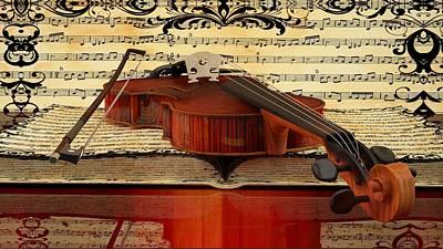 Old Sheet Music Digital Art - Violin  by Louis Ferreira