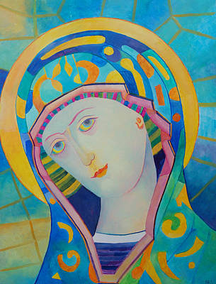 Iconography Mixed Media - Virgin Mary Immaculate Conception. Religious Painting. Modern Catholic Icon by Magdalena Walulik