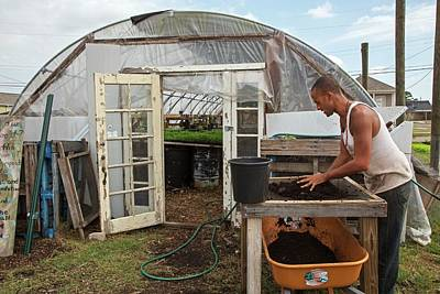 Volunteer At An Urban Farm Print by Jim West