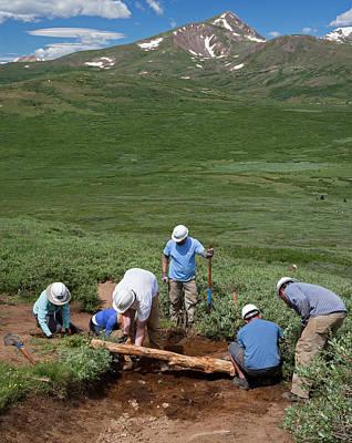 Volunteers Maintaining Hiking Trail Print by Jim West