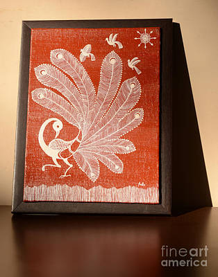 Indian Tribal Art Painting - Warli Peacock by Anita S
