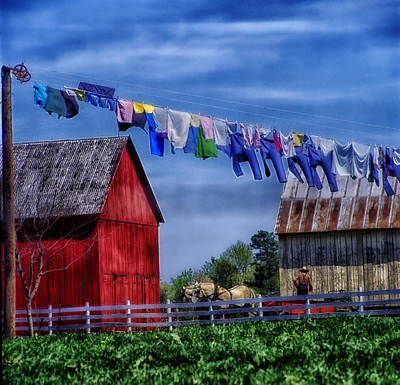 Amish Farmer Photograph - Wash Day by Mountain Dreams