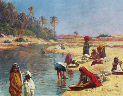 Arabian Painting - Washerwomen by Celestial Images