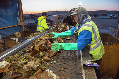 Trash Photograph - Waste Sorting At Composting Facility by Peter Menzel