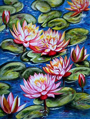 Pink Painting - Water Lilies by Harsh Malik