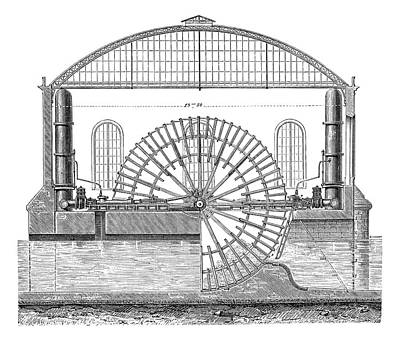Water Wheels At Marly Print by Science Photo Library