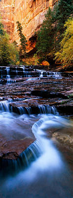 Zion National Park Photograph - Waterfall In A Forest, North Creek by Panoramic Images