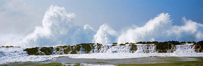 Waves Breaking At Rocks, Oahu, Hawaii Print by Panoramic Images