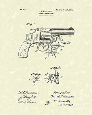 Wesson Pistol 1898 Patent Art Print by Prior Art Design