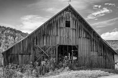Mountains Photograph - West Virginia Barn Monochrome by Steve Harrington