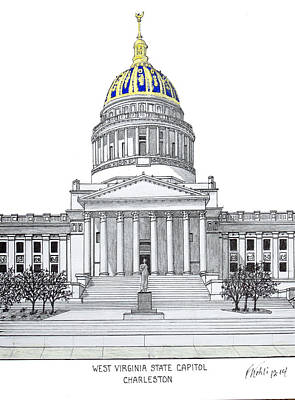 Capitol Building Drawing - West Virginia State Capitol by Frederic Kohli