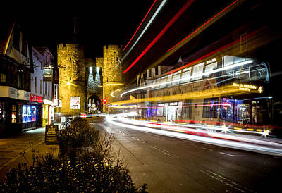 Bus Photograph - Westgate Towers Light Trails by Ian Hufton