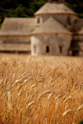Wheat Field In Front Of Historic Abbaye Print by Brian Jannsen