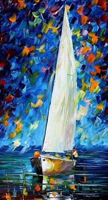 White Sail - Palette Knife Oil Painting On Canvas By Leonid Afremov Original by Leonid Afremov