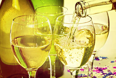 White Wine Pouring Into Glasses Print by Colin and Linda McKie