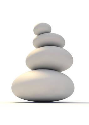 Fragility Digital Art - White Zen Stones by Allan Swart