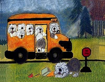 Sheepdog Mixed Media - Wigglebottom Bus by Cathy Howard