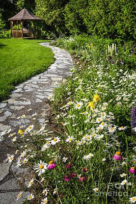 Wildflower Garden And Path To Gazebo Print by Elena Elisseeva