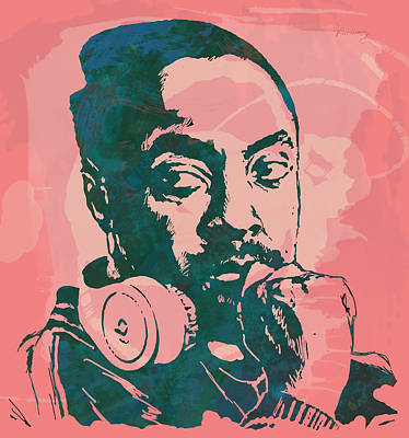 American West Mixed Media - Will.i.am - Stylised Etching Pop Art Poster by Kim Wang