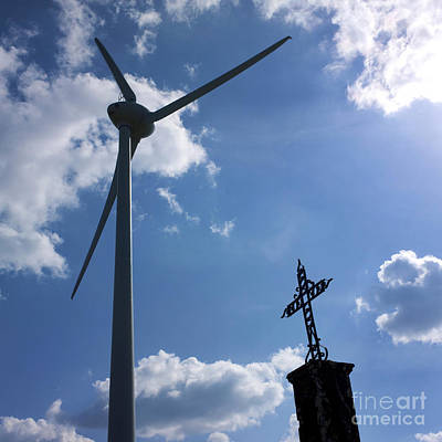 Wind Turbine And Cross Print by Bernard Jaubert