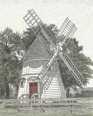 Drawing - Windmill On Water Street by Stephany Elsworth