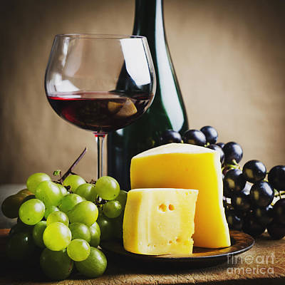 Wine And Cheese Print by Jelena Jovanovic
