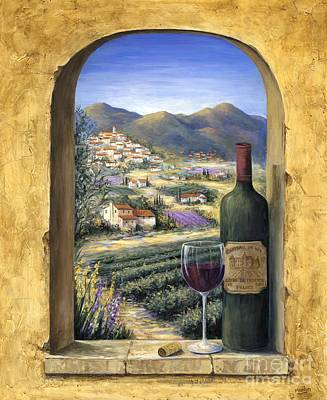 Bottles Painting - Wine And Lavender by Marilyn Dunlap